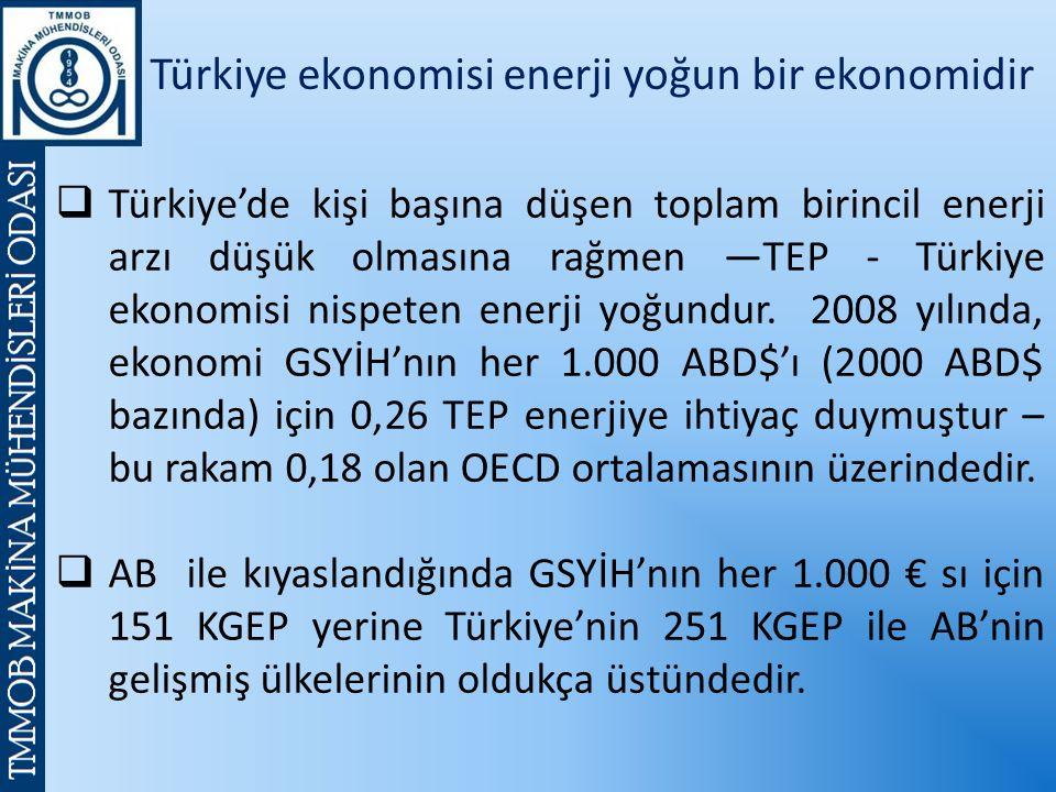 Türkiye ekonomisi enerji yoğun bir ekonomidir  Türkiye'de kişi başına düşen toplam birincil enerji arzı düşük olmasına rağmen —TEP - Türkiye ekonomisi nispeten enerji yoğundur.