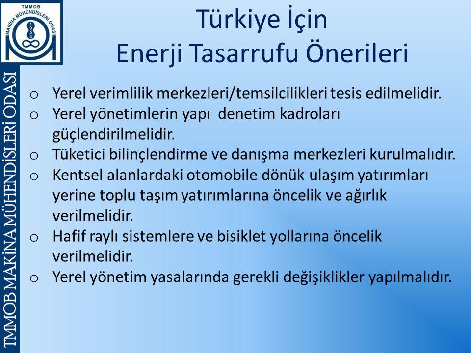 Türkiye İçin Enerji Tasarrufu Önerileri o Yerel verimlilik merkezleri/temsilcilikleri tesis edilmelidir.