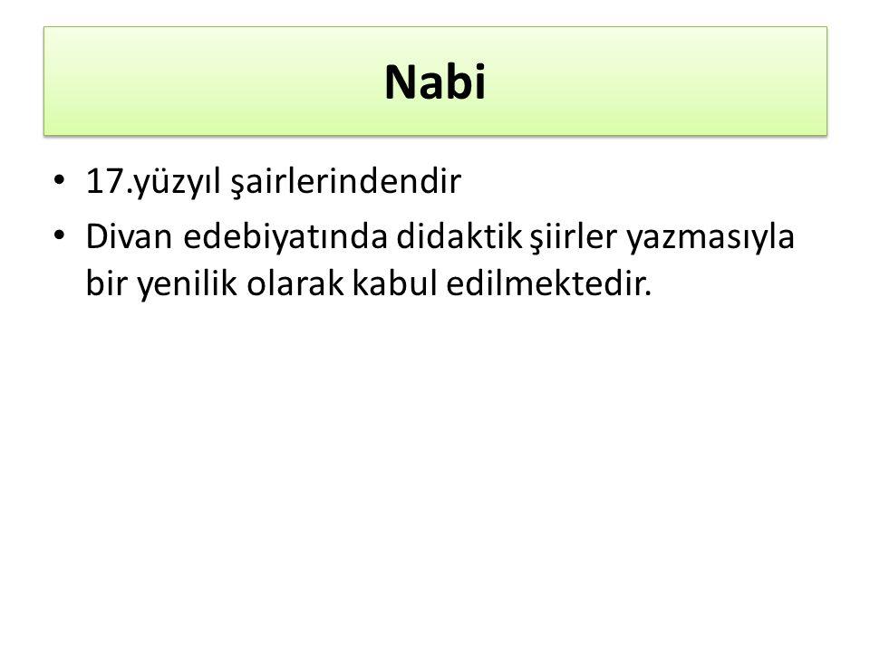 Nabi 17.yüzyıl şairlerindendir Divan edebiyatında didaktik şiirler yazmasıyla bir yenilik olarak kabul edilmektedir.