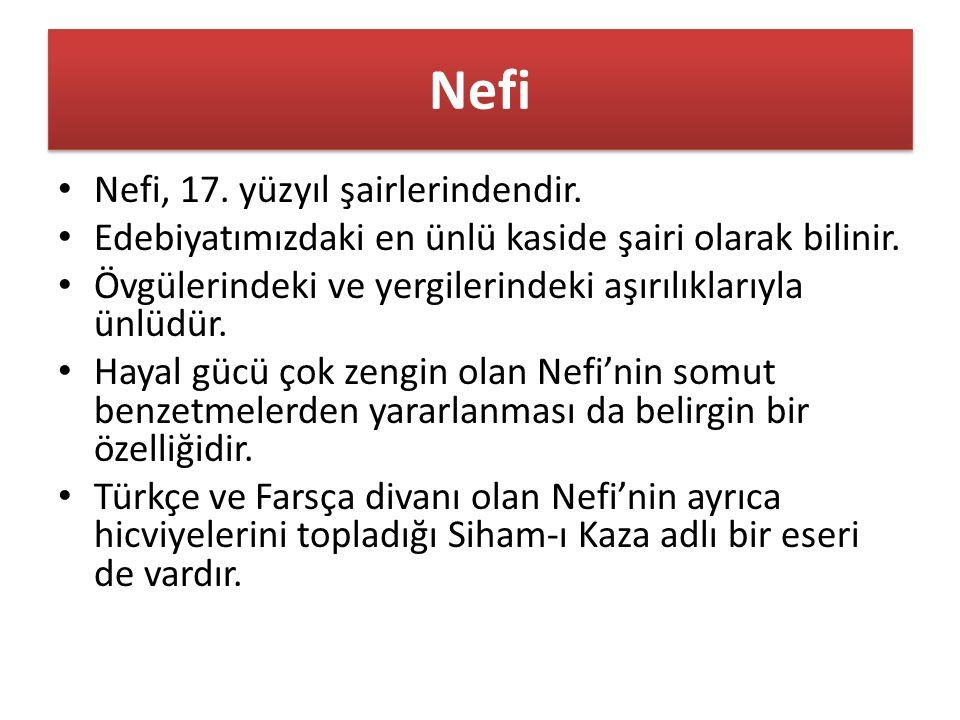 Nefi Nefi, 17. yüzyıl şairlerindendir. Edebiyatımızdaki en ünlü kaside şairi olarak bilinir.