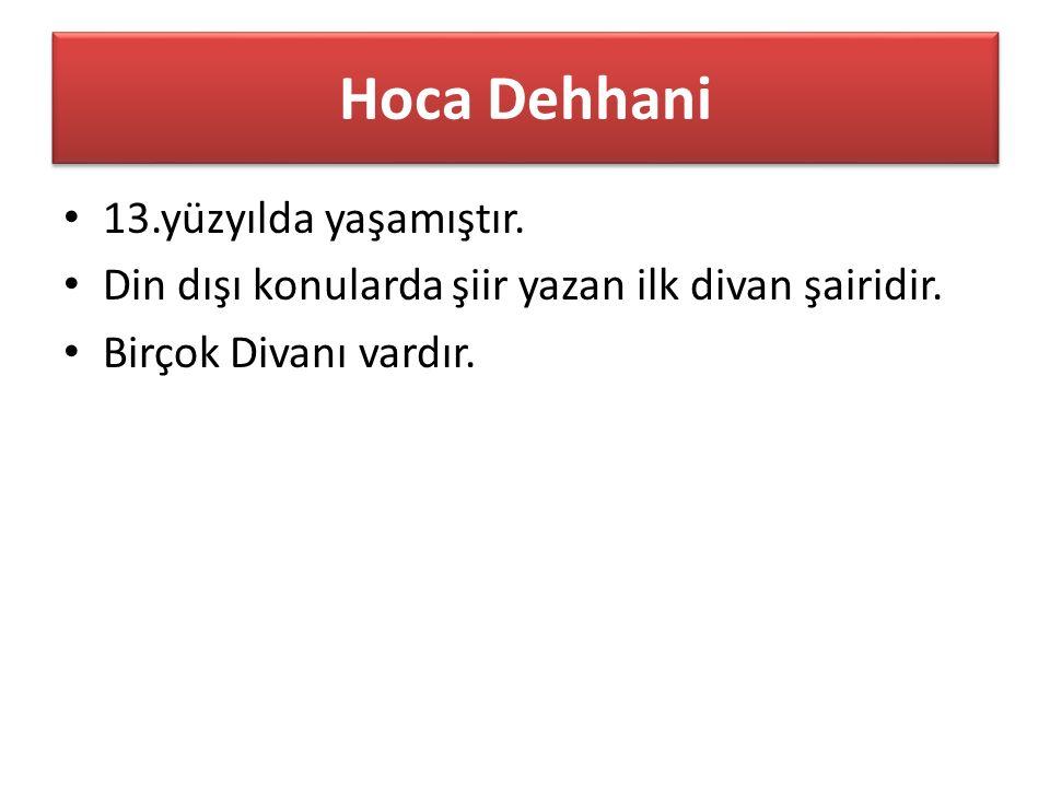 Hoca Dehhani 13.yüzyılda yaşamıştır. Din dışı konularda şiir yazan ilk divan şairidir.