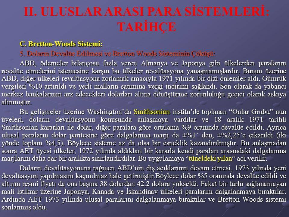 C. Bretton-Woods Sistemi: 5. Doların Devalüe Edilmesi ve Bretton Woods Sisteminin Çöküşü: ABD, ödemeler bilançosu fazla veren Almanya ve Japonya gibi