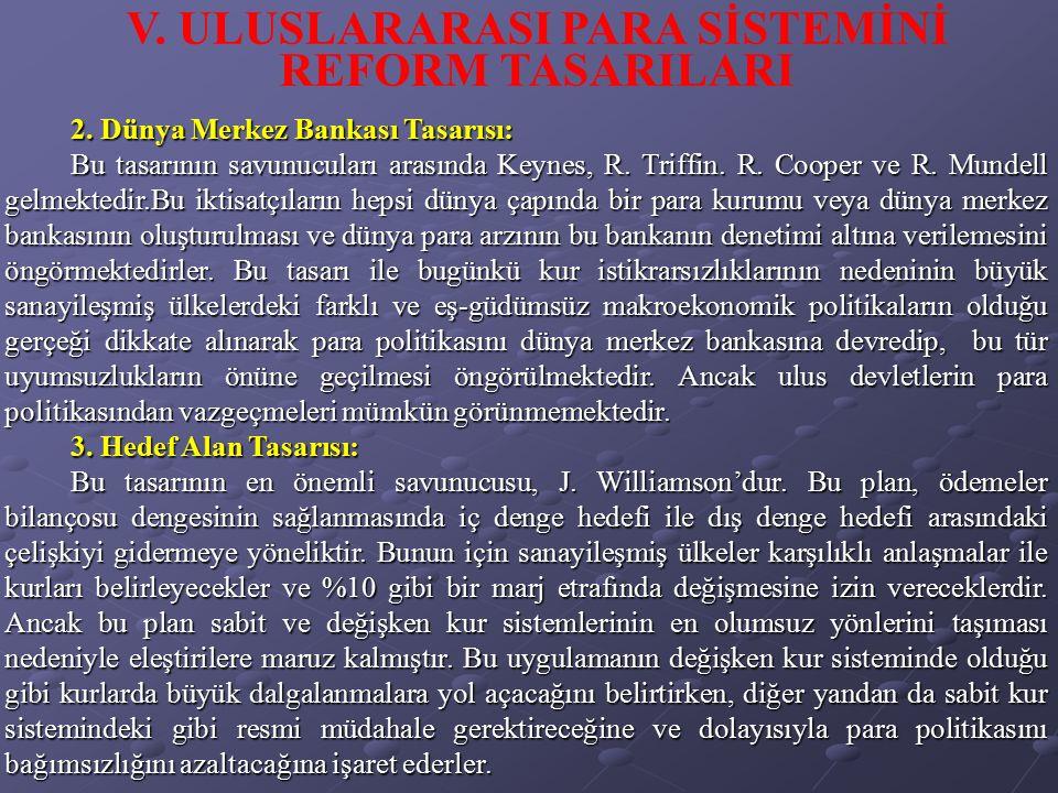 V. ULUSLARARASI PARA SİSTEMİNİ REFORM TASARILARI 2. Dünya Merkez Bankası Tasarısı: Bu tasarının savunucuları arasında Keynes, R. Triffin. R. Cooper ve