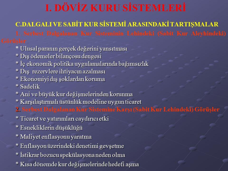 V.ULUSLARARASI PARA SİSTEMİNİ REFORM TASARILARI 4.