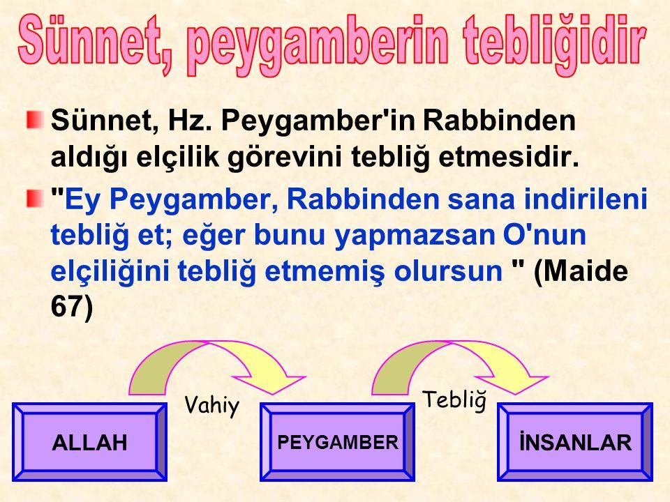 Sünnet, Hz. Peygamber in Rabbinden aldığı elçilik görevini tebliğ etmesidir.