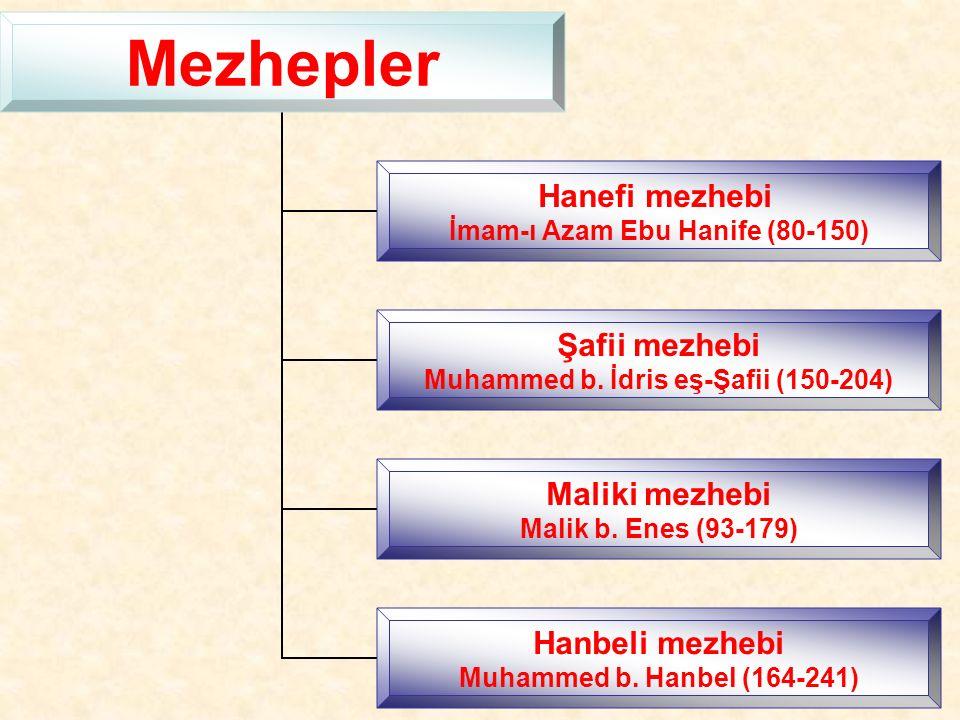 Mezhepler Hanefi mezhebi İmam-ı Azam Ebu Hanife (80-150) Şafii mezhebi Muhammed b.