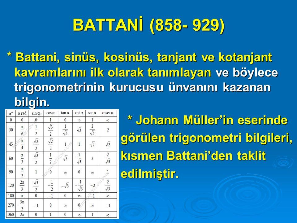 BATTANİ (858- 929) * Battani, sinüs, kosinüs, tanjant ve kotanjant kavramlarını ilk olarak tanımlayan ve böylece trigonometrinin kurucusu ünvanını kaz