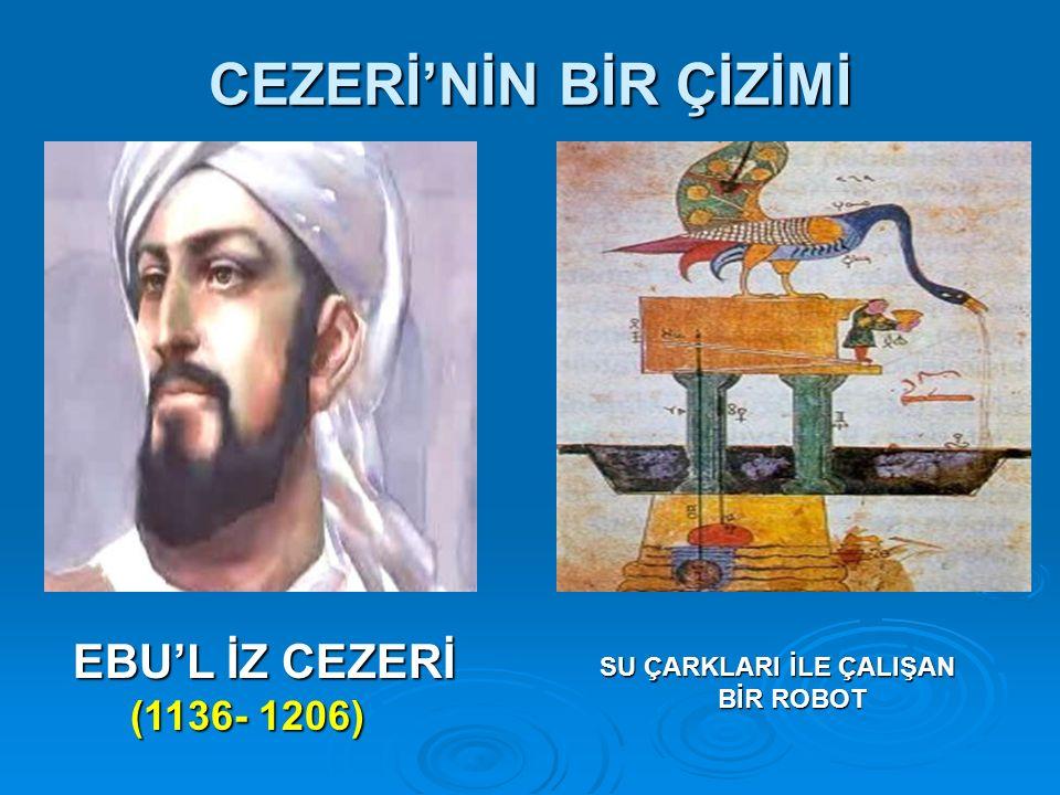 CEZERİ'NİN BİR ÇİZİMİ SU ÇARKLARI İLE ÇALIŞAN SU ÇARKLARI İLE ÇALIŞAN BİR ROBOT BİR ROBOT EBU'L İZ CEZERİ (1136- 1206) (1136- 1206)