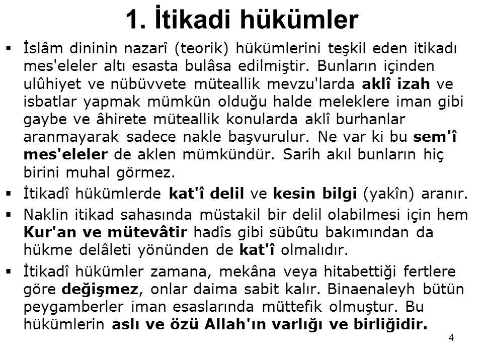 4 1. İtikadi hükümler  İslâm dininin nazarî (teorik) hükümlerini teşkil eden itikadı mes'eleler altı esasta bulâsa edilmiştir. Bunların içinden ulûhi