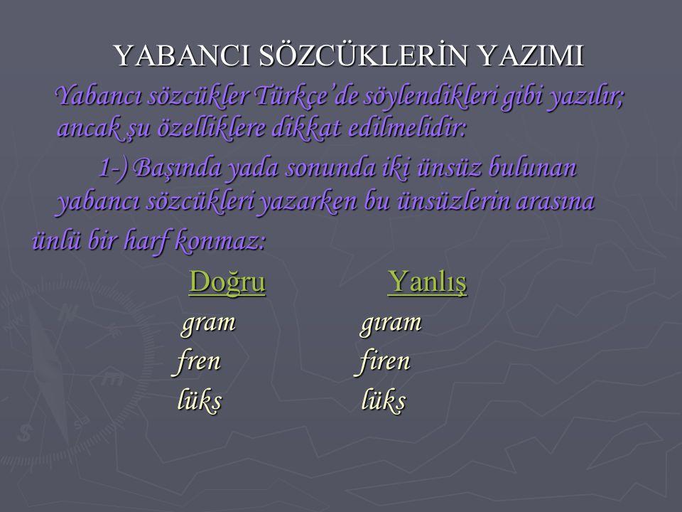 YABANCI SÖZCÜKLERİN YAZIMI YABANCI SÖZCÜKLERİN YAZIMI Yabancı sözcükler Türkçe'de söylendikleri gibi yazılır; ancak şu özelliklere dikkat edilmelidir: