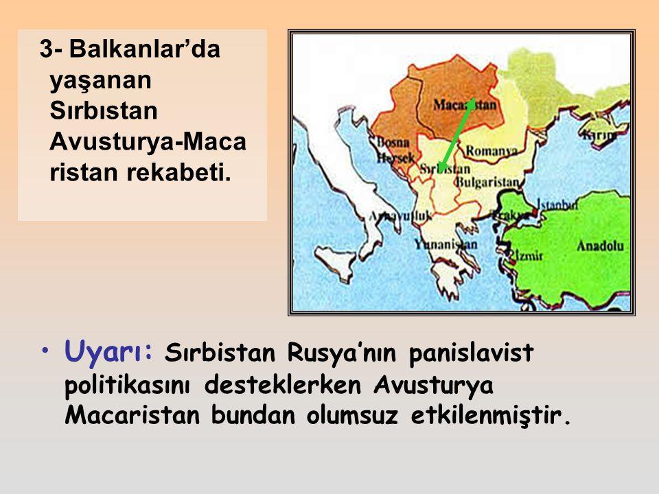 Uyarı: Sırbistan Rusya'nın panislavist politikasını desteklerken Avusturya Macaristan bundan olumsuz etkilenmiştir.
