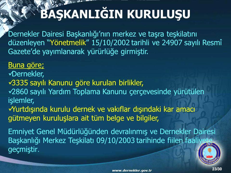 23/30 Dernekler Dairesi Başkanlığı'nın merkez ve taşra teşkilatını düzenleyen Yönetmelik 15/10/2002 tarihli ve 24907 sayılı Resmî Gazete'de yayımlanarak yürürlüğe girmiştir.