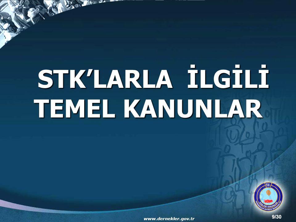 9/30 STK'LARLA İLGİLİ TEMEL KANUNLAR www.dernekler.gov.tr