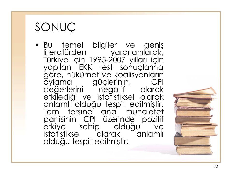 25 SONUÇ Bu temel bilgiler ve geniş literatürden yararlanılarak, Türkiye için 1995-2007 yılları için yapılan EKK test sonuçlarına göre, hükümet ve koalisyonların oylama güçlerinin, CPI değerlerini negatif olarak etkilediği ve istatistiksel olarak anlamlı olduğu tespit edilmiştir.