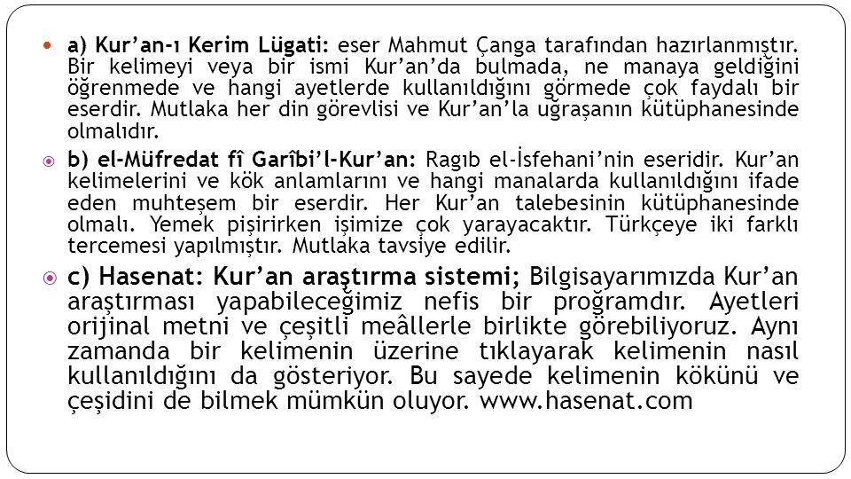a) Kur'an-ı Kerim Lügati: eser Mahmut Çanga tarafından hazırlanmıştır.