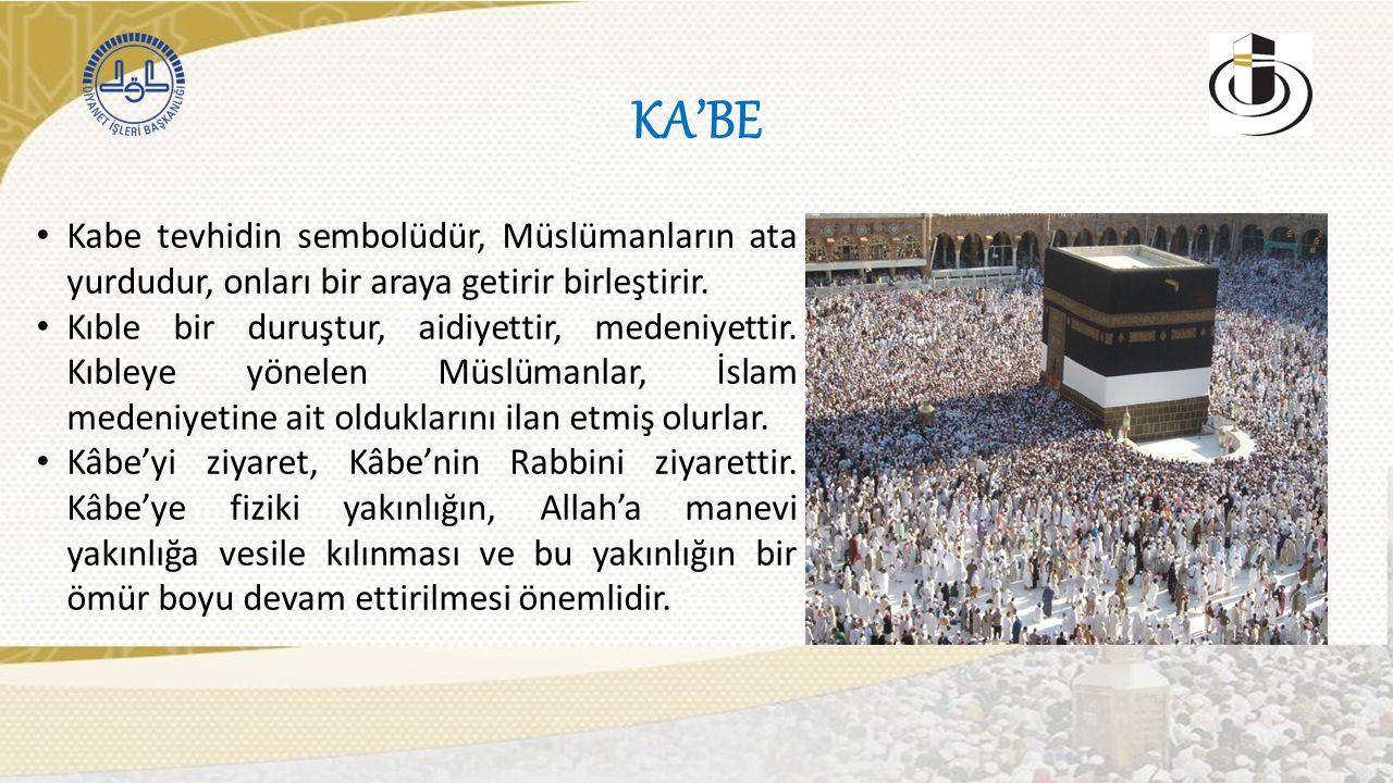 KA'BE Kabe tevhidin sembolüdür, Müslümanların ata yurdudur, onları bir araya getirir birleştirir.