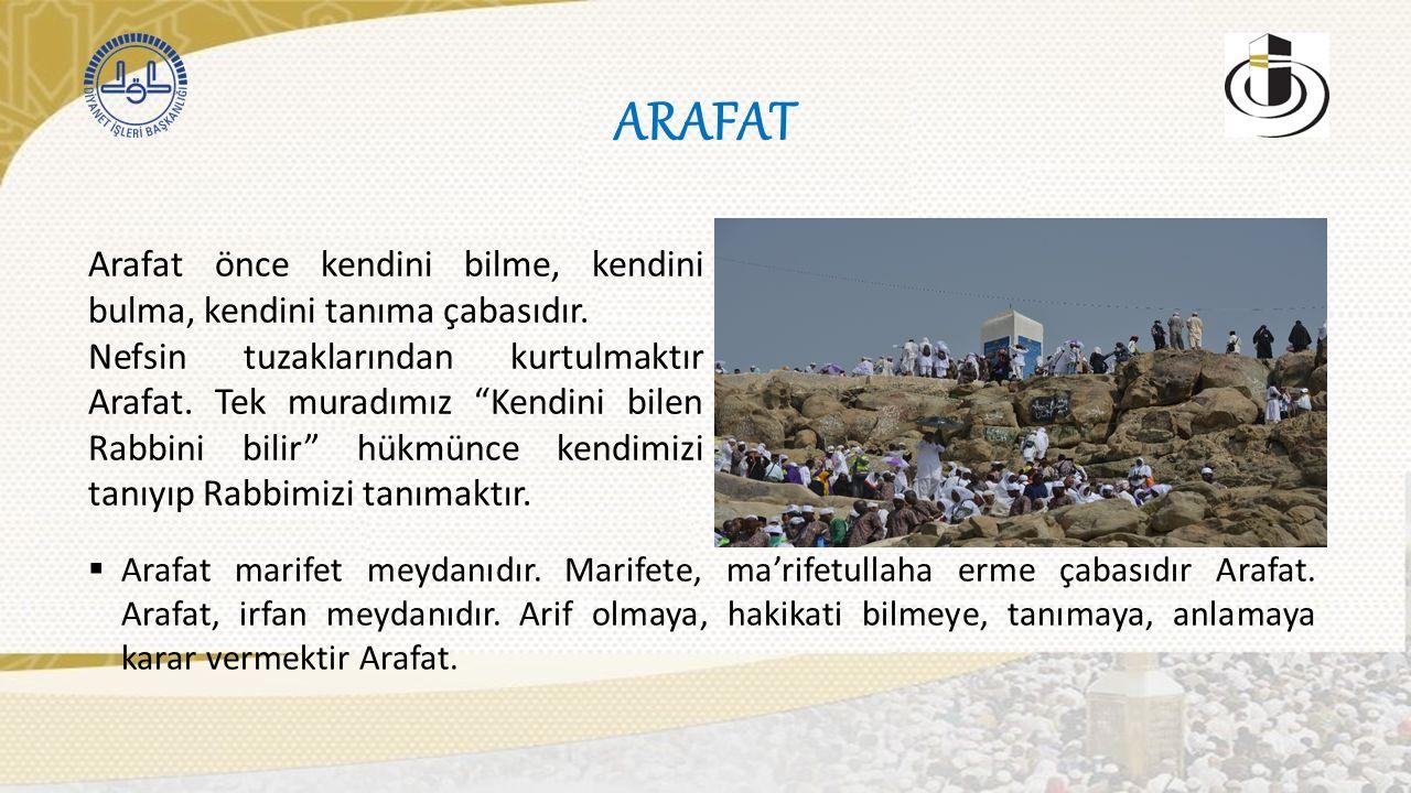 ARAFAT Arafat önce kendini bilme, kendini bulma, kendini tanıma çabasıdır.