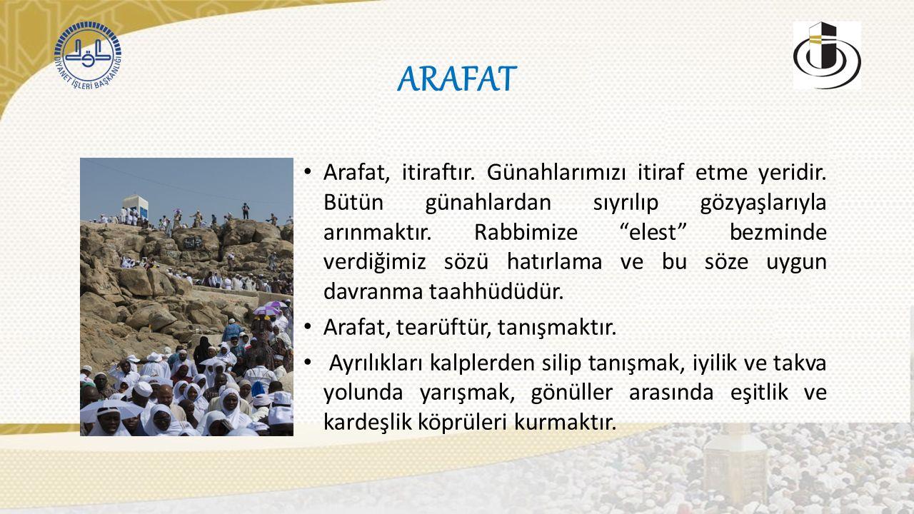ARAFAT Arafat, itiraftır. Günahlarımızı itiraf etme yeridir.