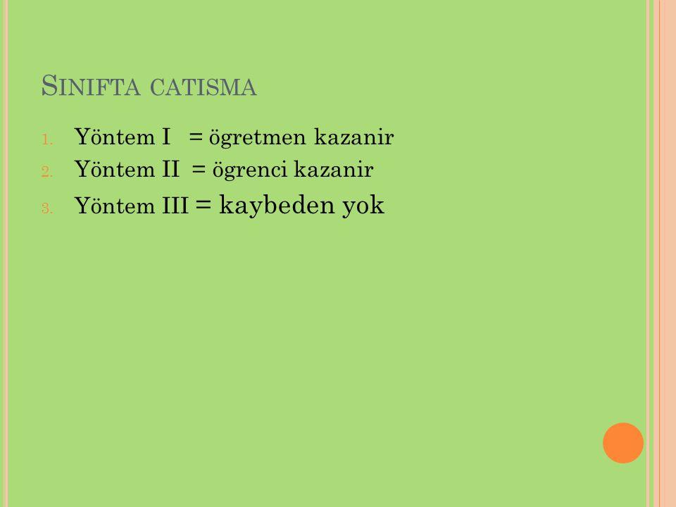 S INIFTA CATISMA 1. Yöntem I = ögretmen kazanir 2. Yöntem II = ögrenci kazanir 3. Yöntem III = kaybeden yok
