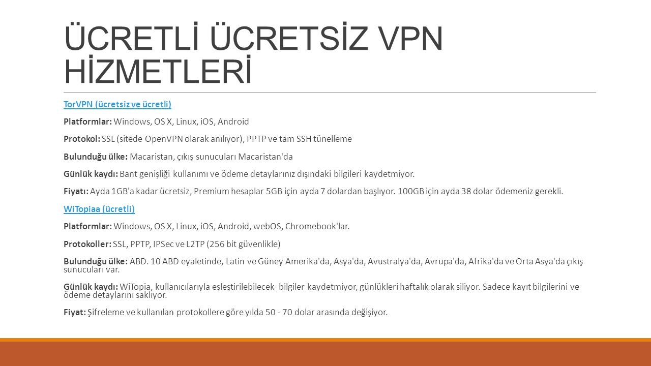 ÜCRETLİ ÜCRETSİZ VPN HİZMETLERİ Private Internet Access (ücretli)Private Internet Access Platformlar: Windows, OS X, Linux, iOS, Android Protokoller: SSL, PPTP, IPSec, ve L2TP.
