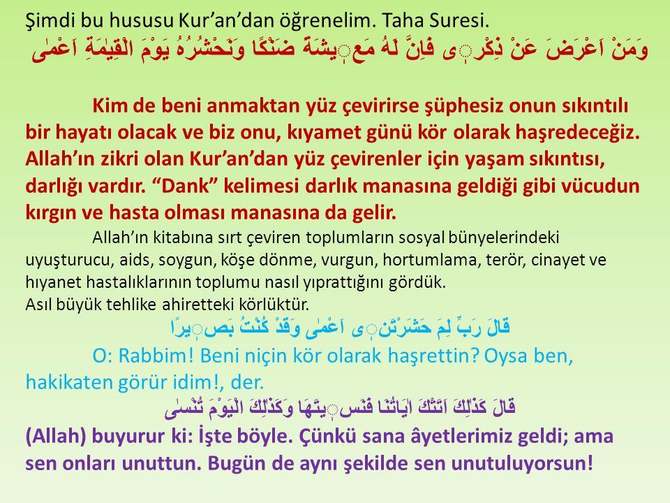 Şimdi bu hususu Kur'an'dan öğrenelim. Taha Suresi.