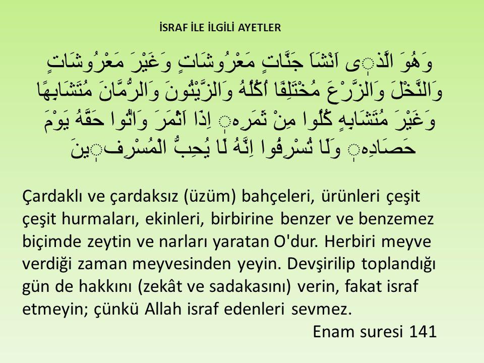 Hayatın dengesini bozan israf illetinden kurtulmak için; hayatımızı, Kur'an ve Sünnete arzedeceğiz.