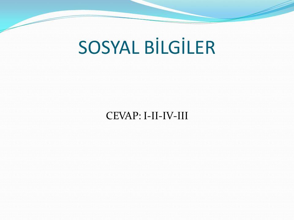 SOSYAL BİLGİLER CEVAP: I-II-IV-III