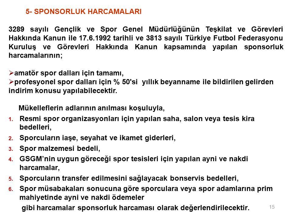 5- SPONSORLUK HARCAMALARI 3289 sayılı Gençlik ve Spor Genel Müdürlüğünün Teşkilat ve Görevleri Hakkında Kanun ile 17.6.1992 tarihli ve 3813 sayılı Türkiye Futbol Federasyonu Kuruluş ve Görevleri Hakkında Kanun kapsamında yapılan sponsorluk harcamalarının;  amatör spor dalları için tamamı,  profesyonel spor dalları için % 50 si yıllık beyanname ile bildirilen gelirden indirim konusu yapılabilecektir.