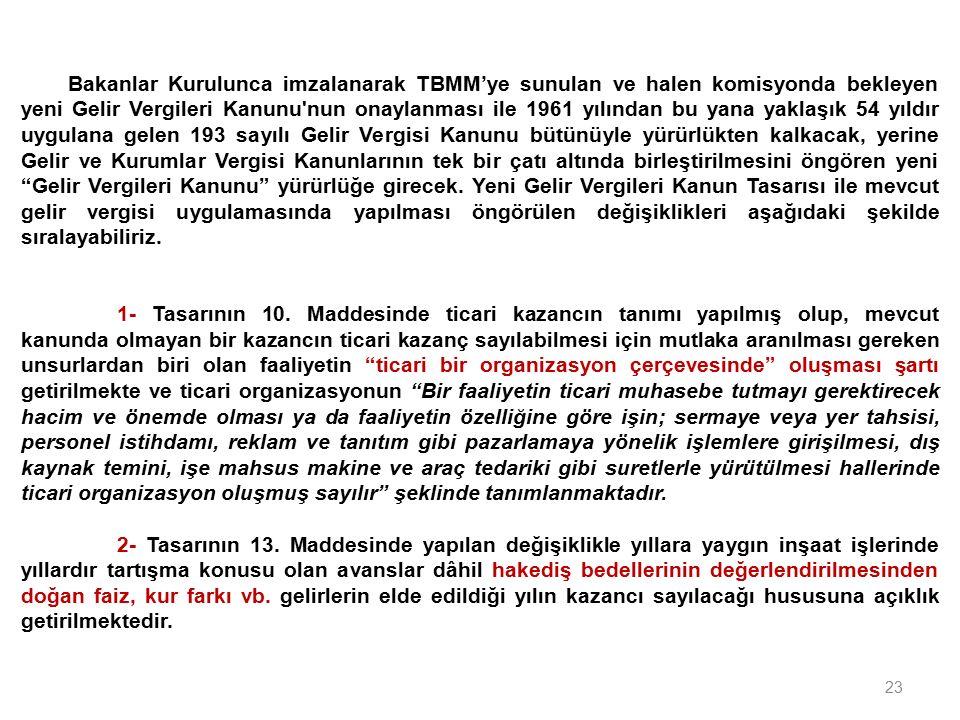 23 Bakanlar Kurulunca imzalanarak TBMM'ye sunulan ve halen komisyonda bekleyen yeni Gelir Vergileri Kanunu'nun onaylanması ile 1961 yılından bu yana y