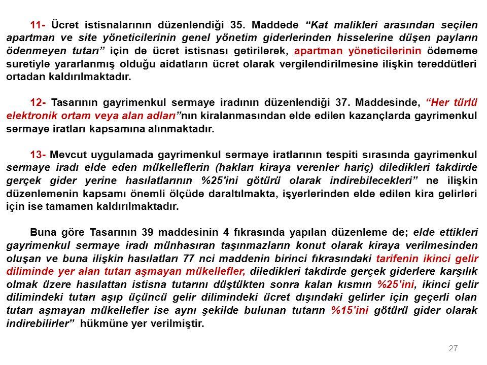 27 11- Ücret istisnalarının düzenlendiği 35.