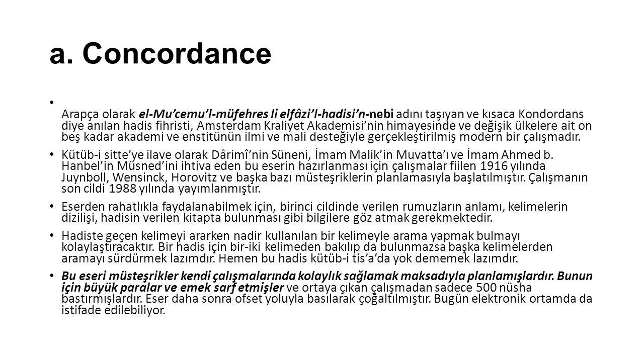 a. Concordance Arapça olarak el-Mu'cemu'l-müfehres li elfâzi'l-hadisi'n-nebi adını taşıyan ve kısaca Kondordans diye anılan hadis fihristi, Amsterdam