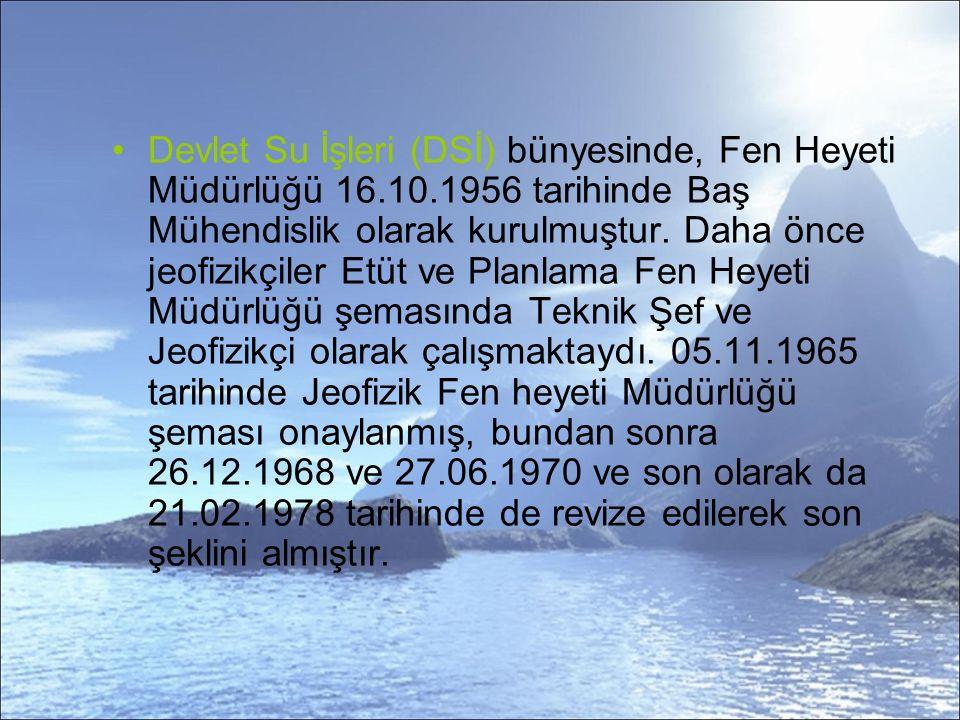 Devlet Su İşleri (DSİ) bünyesinde, Fen Heyeti Müdürlüğü 16.10.1956 tarihinde Baş Mühendislik olarak kurulmuştur.