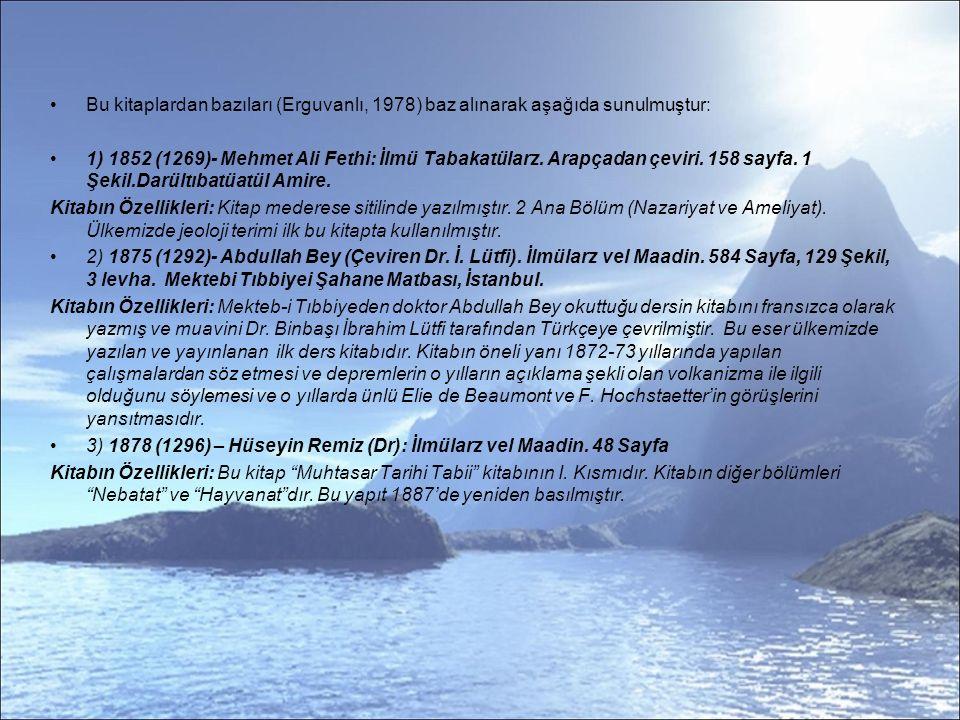 Bu kitaplardan bazıları (Erguvanlı, 1978) baz alınarak aşağıda sunulmuştur: 1) 1852 (1269)- Mehmet Ali Fethi: İlmü Tabakatülarz.