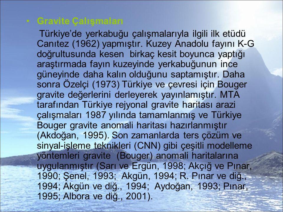 Gravite Çalışmaları Türkiye'de yerkabuğu çalışmalarıyla ilgili ilk etüdü Canıtez (1962) yapmıştır.