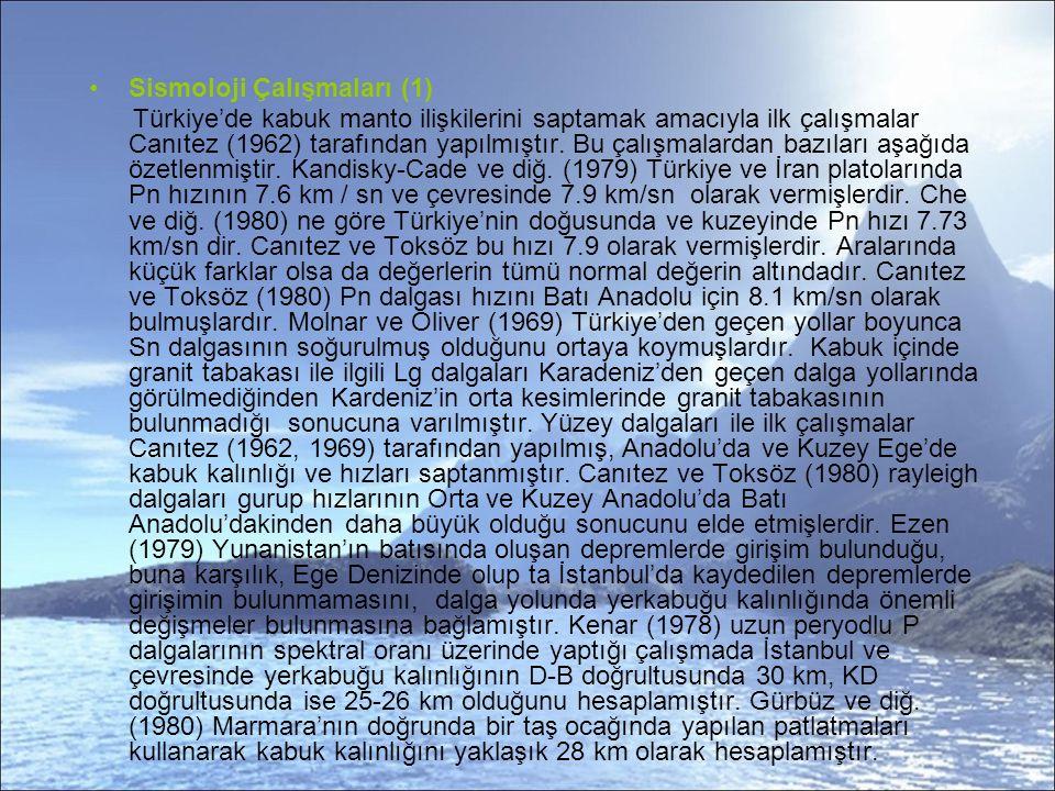 Sismoloji Çalışmaları (1) Türkiye'de kabuk manto ilişkilerini saptamak amacıyla ilk çalışmalar Canıtez (1962) tarafından yapılmıştır.