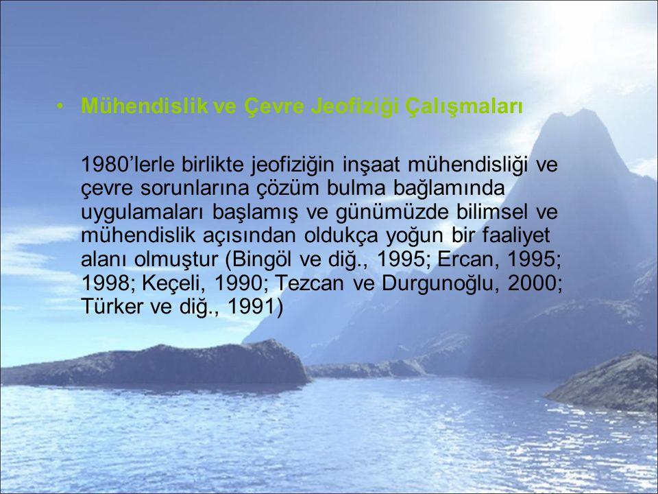 Mühendislik ve Çevre Jeofiziği Çalışmaları 1980'lerle birlikte jeofiziğin inşaat mühendisliği ve çevre sorunlarına çözüm bulma bağlamında uygulamaları başlamış ve günümüzde bilimsel ve mühendislik açısından oldukça yoğun bir faaliyet alanı olmuştur (Bingöl ve diğ., 1995; Ercan, 1995; 1998; Keçeli, 1990; Tezcan ve Durgunoğlu, 2000; Türker ve diğ., 1991)