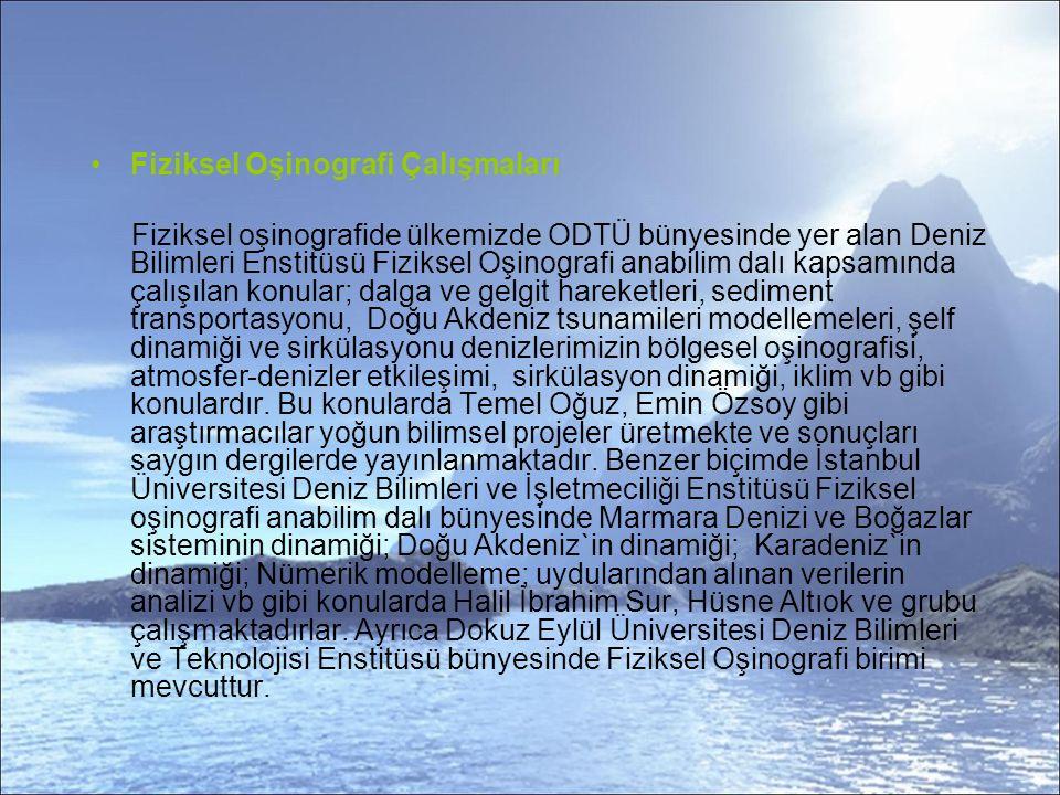 Fiziksel Oşinografi Çalışmaları Fiziksel oşinografide ülkemizde ODTÜ bünyesinde yer alan Deniz Bilimleri Enstitüsü Fiziksel Oşinografi anabilim dalı kapsamında çalışılan konular; dalga ve gelgit hareketleri, sediment transportasyonu, Doğu Akdeniz tsunamileri modellemeleri, şelf dinamiği ve sirkülasyonu denizlerimizin bölgesel oşinografisi, atmosfer-denizler etkileşimi, sirkülasyon dinamiği, iklim vb gibi konulardır.
