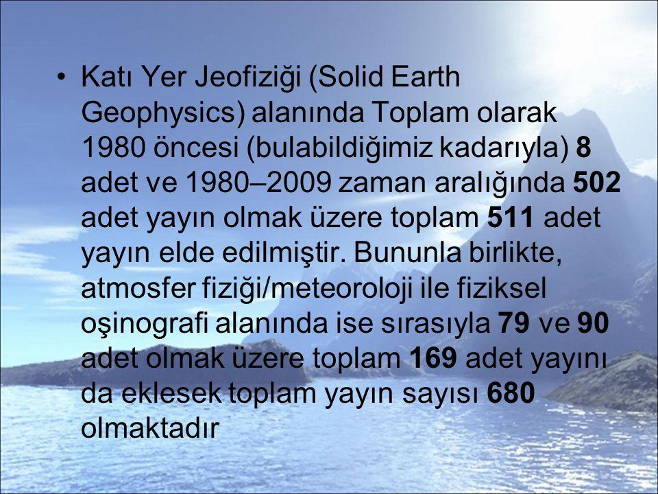 Katı Yer Jeofiziği (Solid Earth Geophysics) alanında Toplam olarak 1980 öncesi (bulabildiğimiz kadarıyla) 8 adet ve 1980–2009 zaman aralığında 502 adet yayın olmak üzere toplam 511 adet yayın elde edilmiştir.
