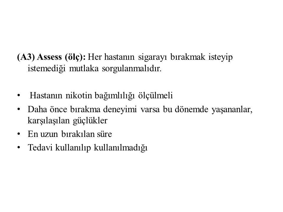 (A3) Assess (ölç): Her hastanın sigarayı bırakmak isteyip istemediği mutlaka sorgulanmalıdır.