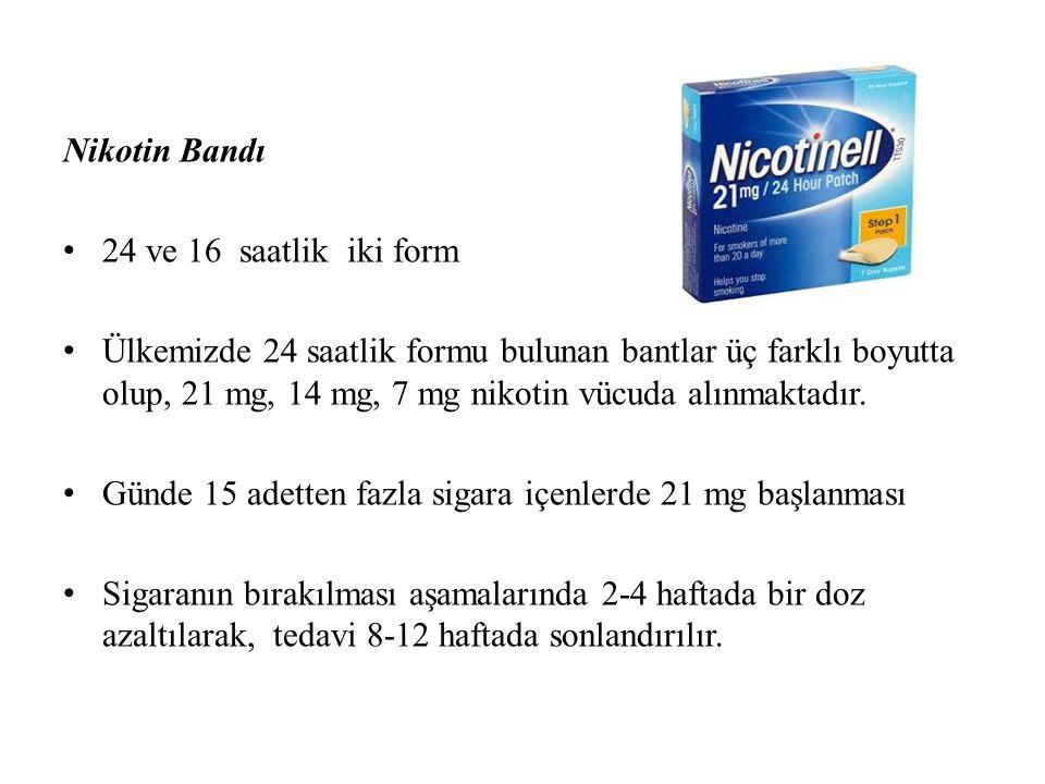 Nikotin Bandı 24 ve 16 saatlik iki form Ülkemizde 24 saatlik formu bulunan bantlar üç farklı boyutta olup, 21 mg, 14 mg, 7 mg nikotin vücuda alınmaktadır.