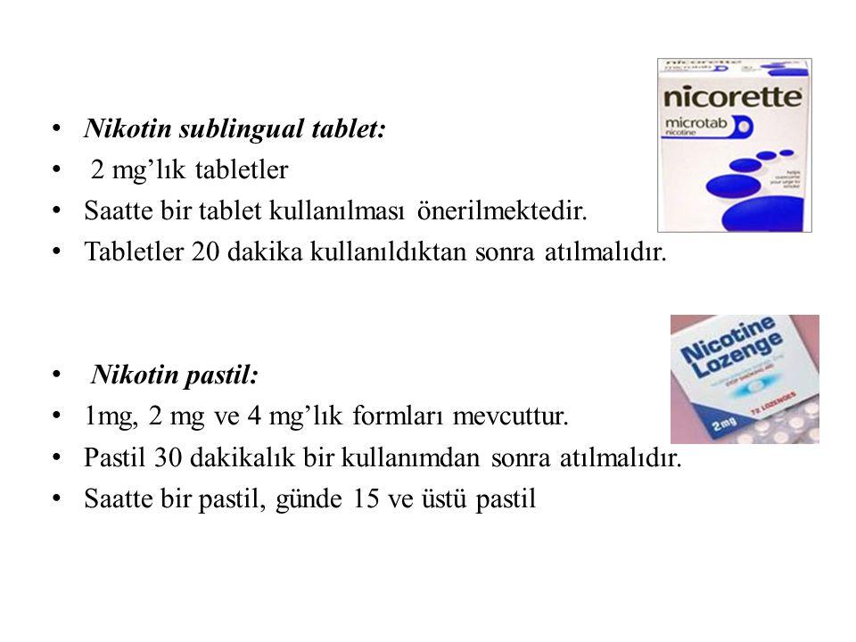 Nikotin sublingual tablet: 2 mg'lık tabletler Saatte bir tablet kullanılması önerilmektedir.