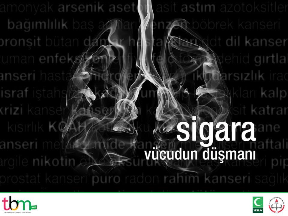  Sigarayı ciğerlere çekerek kullanan bir kişi her bir sigarada ortalama 1 ila 2 mg kadar nikotin alır.