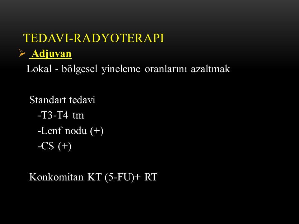 TEDAVI-RADYOTERAPI  Adjuvan Lokal - bölgesel yineleme oranlarını azaltmak Standart tedavi -T3-T4 tm -Lenf nodu (+) -CS (+) Konkomitan KT (5-FU)+ RT