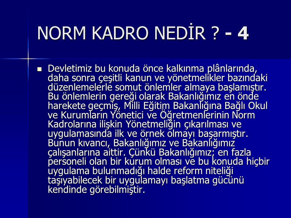 MİLLİ EĞİTİM BAKANLIĞINDA NORM KADRO -1 Ülkemiz, Atatürk'ün gösterdiği çağdaş uygarlık düzeyinin üzerine çıkma yolunda sosyal, kültürel ve ekonomik olarak kalkınma çabası içindedir.