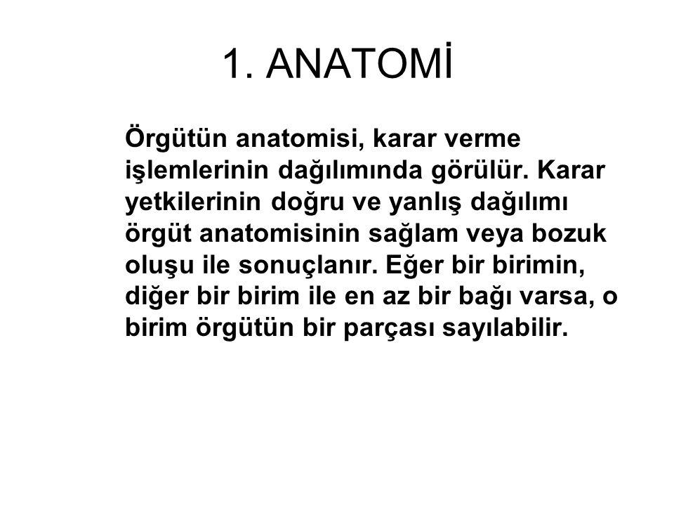 1.ANATOMİ Örgütün anatomisi, karar verme işlemlerinin dağılımında görülür.