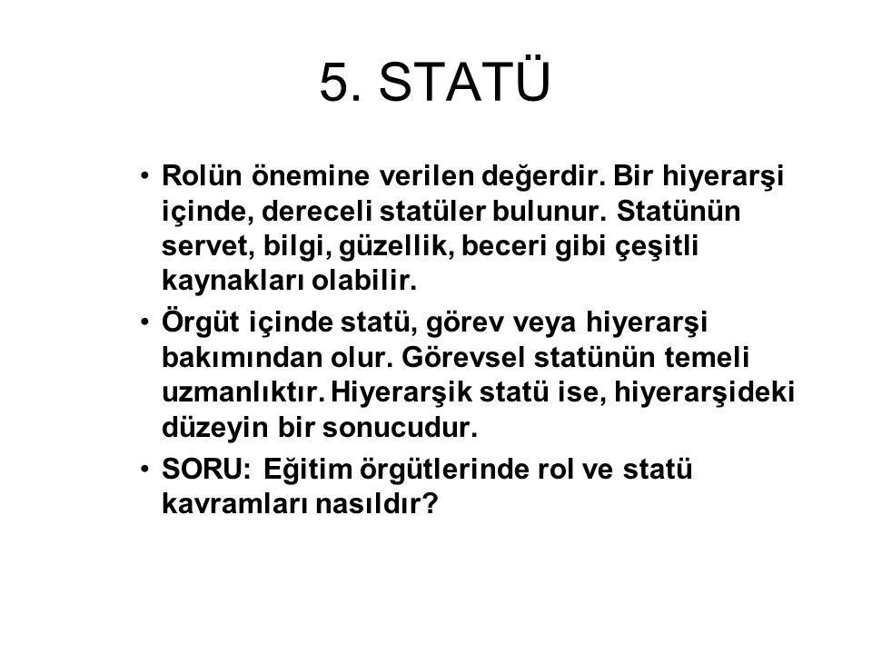 5.STATÜ Rolün önemine verilen değerdir. Bir hiyerarşi içinde, dereceli statüler bulunur.