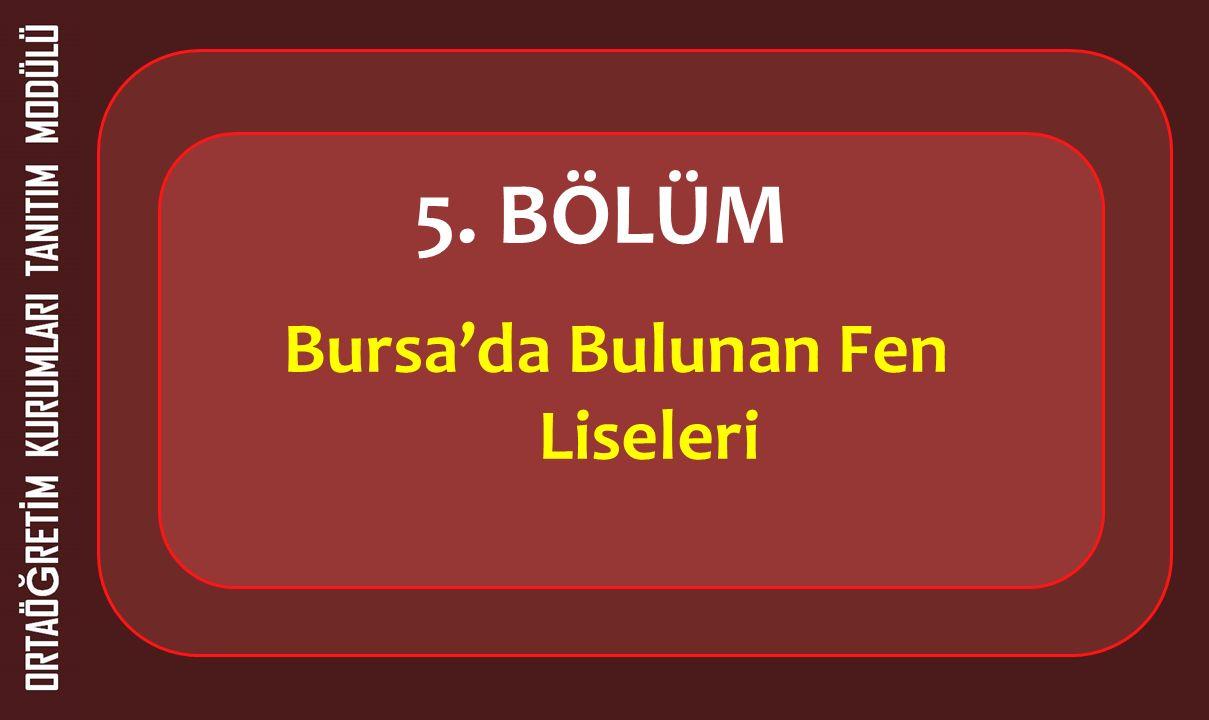 5. BÖLÜM Bursa'da Bulunan Fen Liseleri