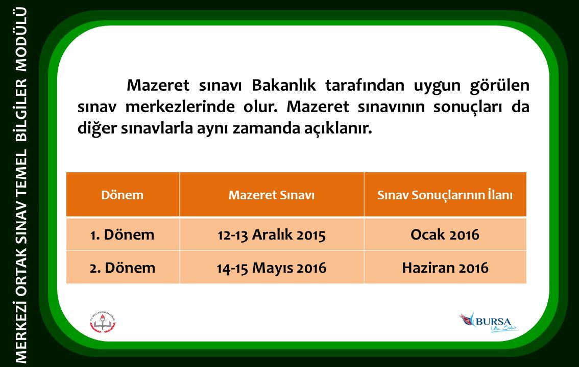 Mazeret sınavı Bakanlık tarafından uygun görülen sınav merkezlerinde olur.