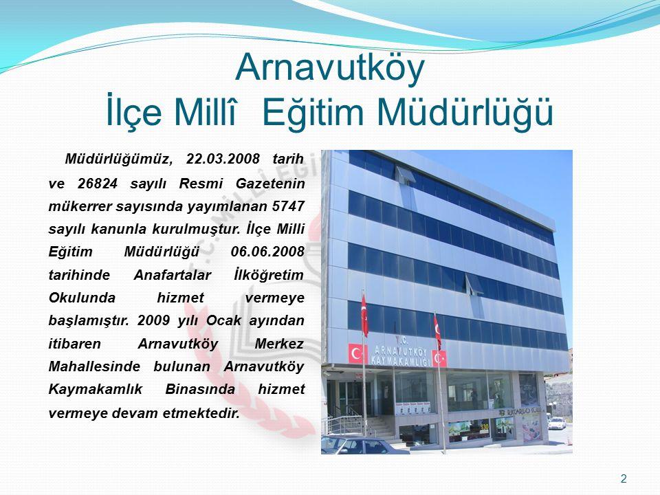 Arnavutköy İlçe Millî Eğitim Müdürlüğü 2 Müdürlüğümüz, 22.03.2008 tarih ve 26824 sayılı Resmi Gazetenin mükerrer sayısında yayımlanan 5747 sayılı kanunla kurulmuştur.
