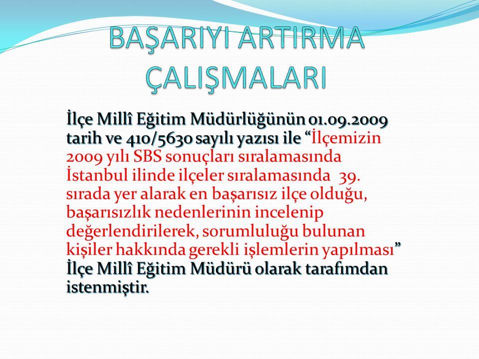 İlçe Millî Eğitim Müdürlüğünün 01.09.2009 tarih ve 410/5630 sayılı yazısı ile İlçemizin 2009 yılı SBS sonuçları sıralamasında İstanbul ilinde ilçeler sıralamasında 39.